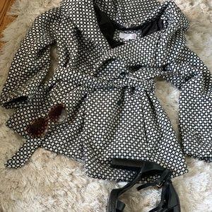 Pea coat black while tie closure jacket medium